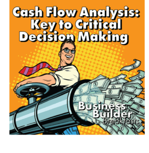 Cash Flow Analysis - The Key to Critical Decision Making Hero Image. Cartoon man in white work shirt opening a fire hose with money flowing out of it
